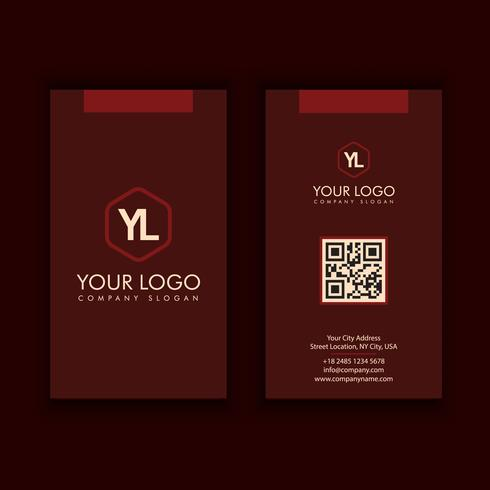modèle de carte de visite moderne créative et propre vertical avec la couleur rouge