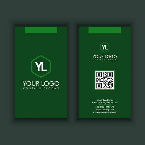 vertikale moderne kreative und saubere Visitenkarte-Schablone mit grüner Farbe
