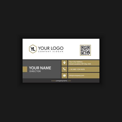 Modèle de carte de visite moderne créative et propre avec une couleur foncée dorée
