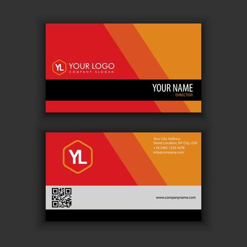 Modèle de carte de visite moderne créative et propre avec k kcolor rouge blac
