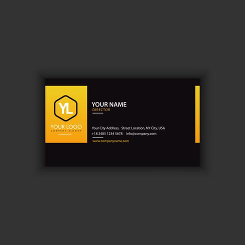 Modern Creative and Clean Business Card Template with yellow lin vector