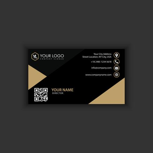 Modello moderno creativo e pulito del biglietto da visita con colore scuro dell'oro