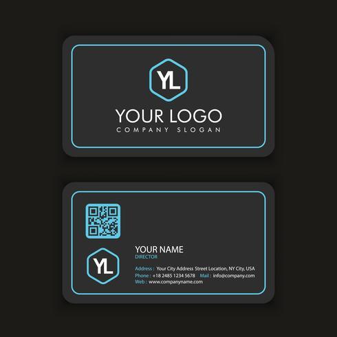 Moderne kreative und saubere Visitenkarte-Schablone mit blauer dunkler Farbe