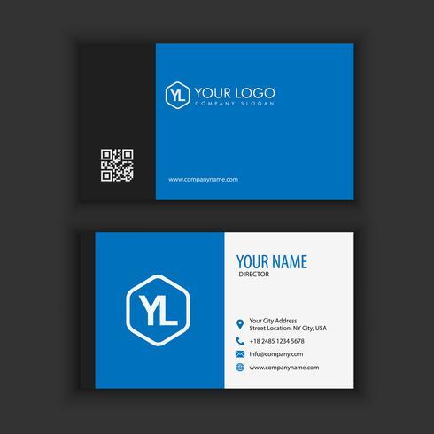 Sjabloon voor modern, creatieve en schone visitekaartjes met blauwe donkere kleur