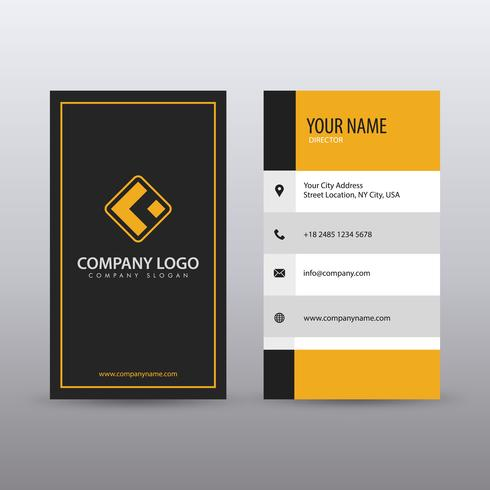 Modern Creative vertical Clean Business Card Template with yello