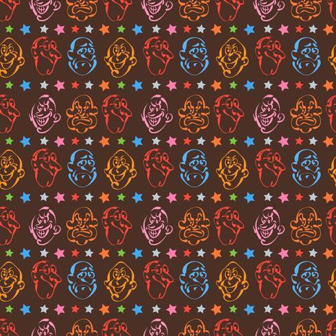 emozione faccia disegnata a mano modello sfondo con colore marrone
