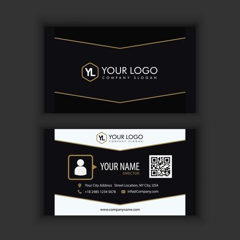 Modern Creative and Clean Business Card Template with gold dark