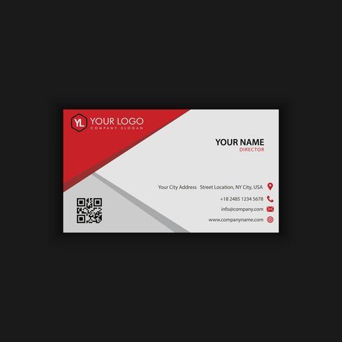 Moderna plantilla de tarjeta de visita creativa y limpia con rojo negro