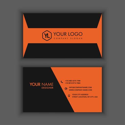 Modèle de carte de visite moderne créative et propre avec une couleur noir orange