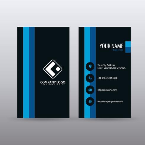 Moderne kreative vertikale saubere Visitenkarte-Schablone mit Farbe des blauen Schwarzen. Vollständig bearbeitbarer Vektor.