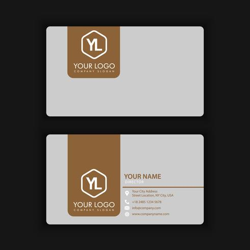 Modern Creative and Clean Business Card Template with gold grey color vector