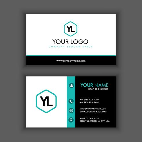 Vector Modern Creative and Clean Business Card Template with blue color