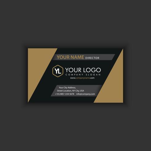 Sjabloon voor modern, creatieve en schone visitekaartjes met gouden donkere kleur