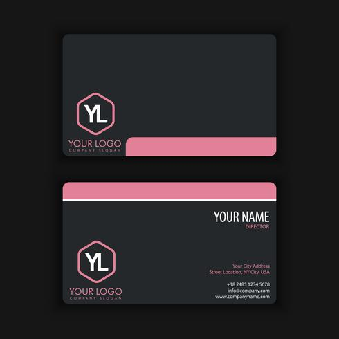 Modern Creative and Clean Business Card Template with pink black vector