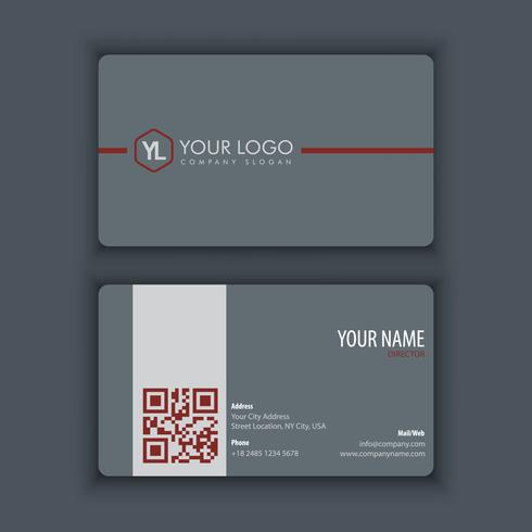 Moderne kreative und saubere Visitenkarte-Schablone mit rotem Grau c