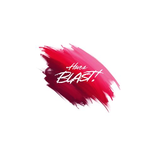 Hand-written lettering brush phrase There Blast with watercolor background