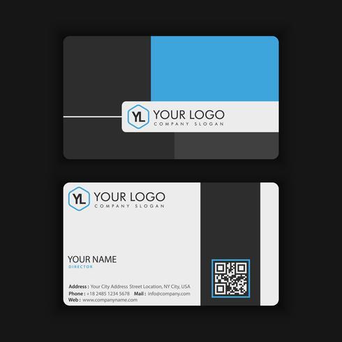 Modèle de carte de visite moderne créative et propre vecteur avec couleur bleu foncé