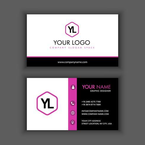 Moderna plantilla de tarjeta de visita creativa y limpia con color negro púrpura