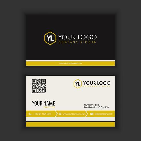 Modèle de carte de visite moderne créative et épurée avec couleur de trait jaune