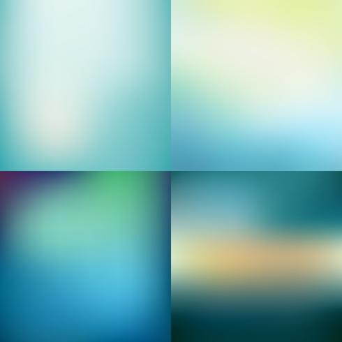 Ensemble d'arrière-plans de vecteur floue bleu coloré abstrait