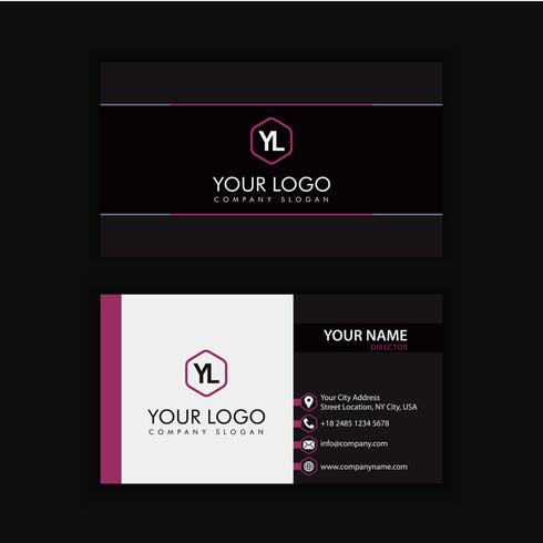 Modern Creative and Clean Business Card Template with purple black color vector