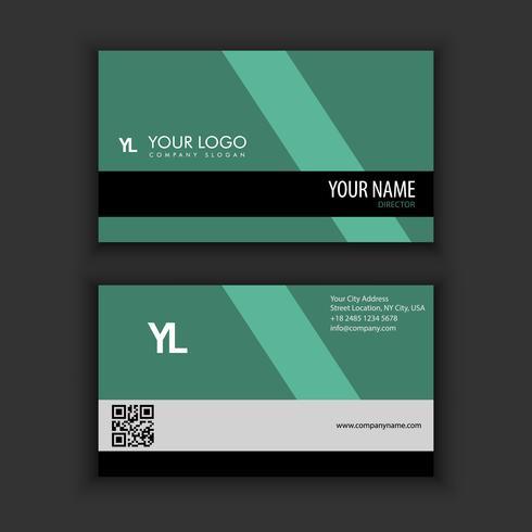 Moderne kreative und saubere Visitenkarte-Schablone mit grüner Dunkelheit
