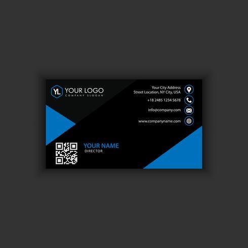 Modèle de carte de visite moderne créative et propre avec une couleur bleue foncée