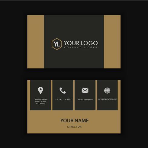 Moderne kreative und saubere Visitenkarte-Schablone mit Golddunkelheit