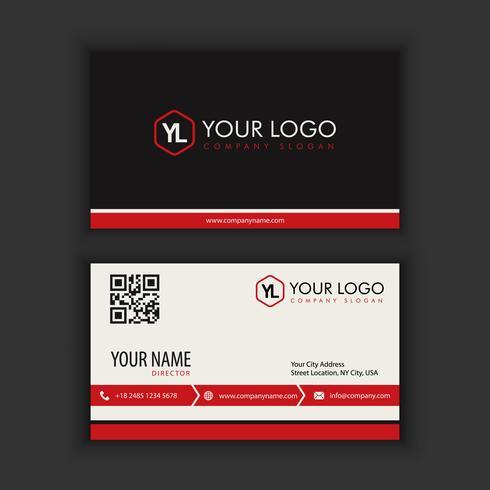 Modello moderno creativo e pulito del biglietto da visita con il nero rosso