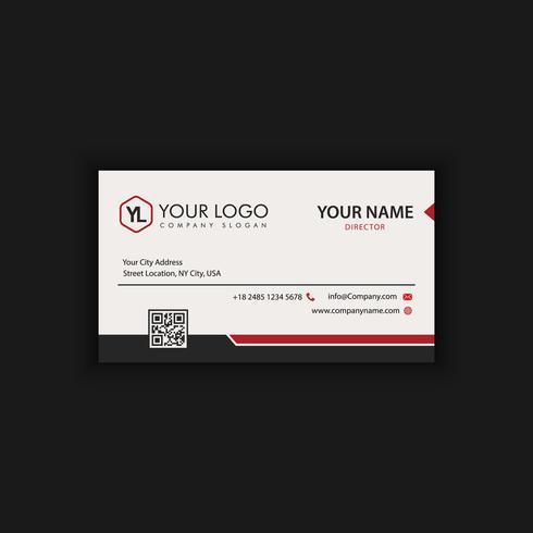 Kreative und saubere Visitenkartenvorlage. Schwarze und rote Farben