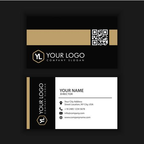 Modello di biglietto da visita creativo e pulito moderno con oro scuro