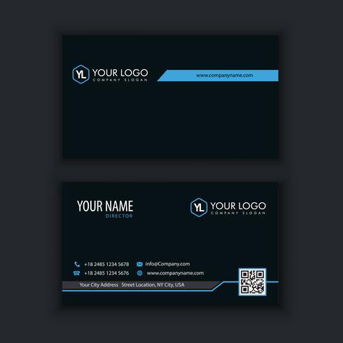 Moderna plantilla de tarjeta de visita creativa y limpia con color azul oscuro