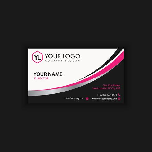Modern Creative and Clean Business Card Template with pink black color vector