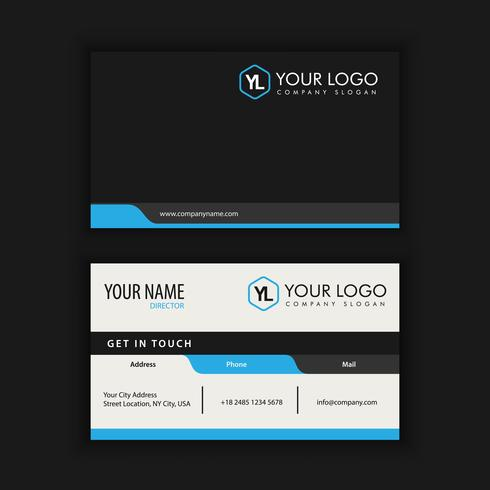 Modern Creative and Clean Business Card Template with blue dark  vector