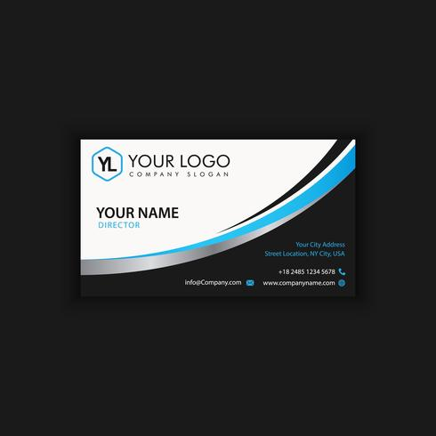 Modern Creative and Clean Business Card Template with blue dark