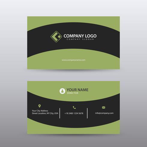 Plantilla moderna y limpia moderna de la tarjeta de visita con color negro verde. Vector completamente editable.