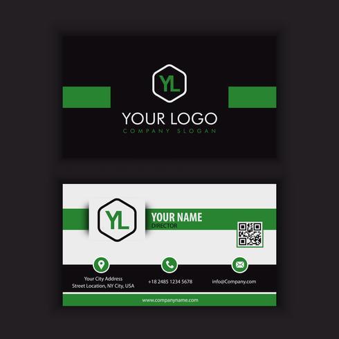 Sjabloon voor modern, creatief en schoon visitekaartjes met groen donker