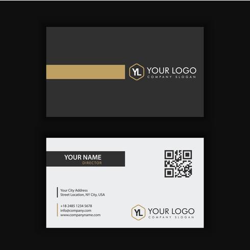 Moderne kreative und saubere Visitenkarte-Schablone mit Golddunkler Farbe