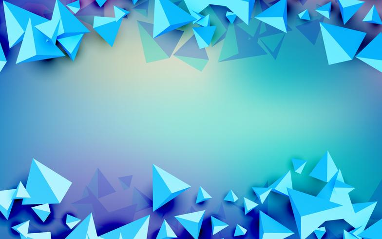 3D-driehoek futuristische blauwe achtergrond