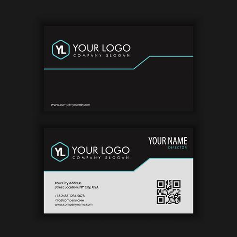 Moderna plantilla de tarjeta de visita creativa y limpia con azul oscuro