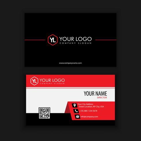 Modernt kreativt och rent visitkort med röd svart färg