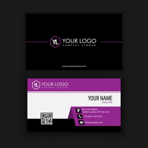 Modern Creative and Clean Business Card Template with purple bla vector