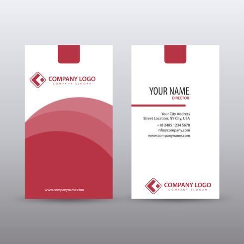 Moderna plantilla de tarjeta de visita limpia vertical vertical con rojo c