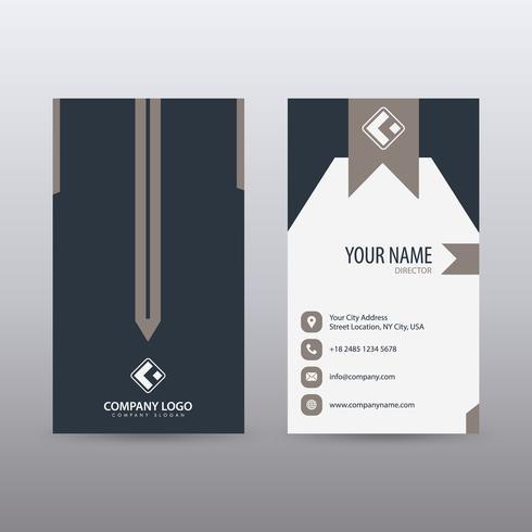 Modello di business card verticale pulito creativo moderno con colore blu scuro. Vettore completamente modificabile.