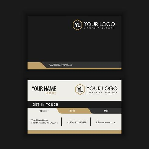 Modern Creative and Clean Business Card Template with gold dark  vector