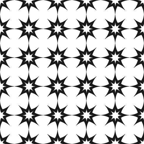 Vector sin patrón Blanco y negro repitiendo patrón geométrico de estrella