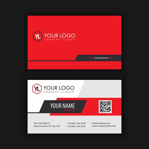Modèle de carte de visite moderne créative et propre avec rouge noir