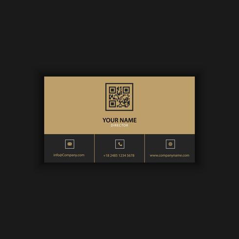 Modèle de carte de visite moderne créative et propre avec une couleur foncée dorée vecteur