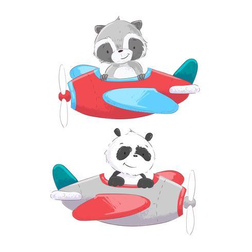 O helicóptero de avião do transporte aéreo da ilustração bonito dos desenhos animados e o balão entregam o estilo do desenho. vetor