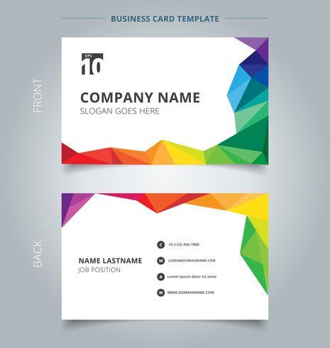 Conception de modèle de nom de carte de visite abstrait style coloré faible polygone sur fond blanc.